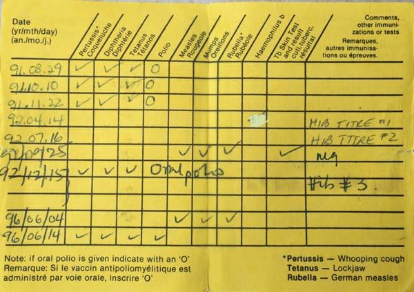 paper vaccine record