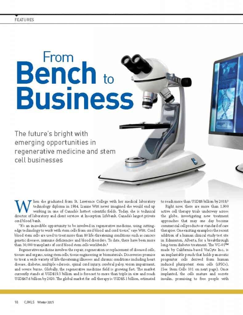 From Bench to Business: new jobs in regenerative medicine and stem cells